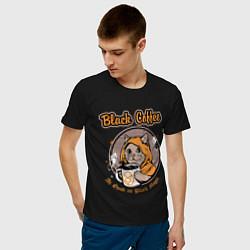 Футболка хлопковая мужская Black Coffee Cat цвета черный — фото 2