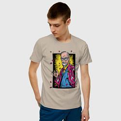 Футболка хлопковая мужская Зигмунд Фрейд цвета миндальный — фото 2