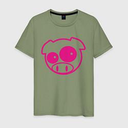 Футболка хлопковая мужская Subaru Power Pig цвета авокадо — фото 1