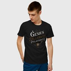 Мужская хлопковая футболка с принтом Гений, миллиардер, филантроп, цвет: черный, артикул: 10211152100001 — фото 2