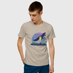 Мужская хлопковая футболка с принтом Рекс 1, цвет: миндальный, артикул: 10211387100001 — фото 2