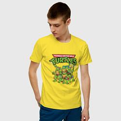Футболка хлопковая мужская Черепашки-ниндзя цвета желтый — фото 2