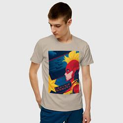Футболка хлопковая мужская Капитан Марвел Мстители цвета миндальный — фото 2