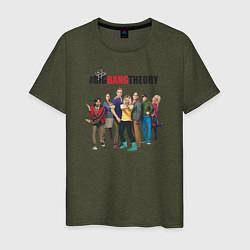 Футболка хлопковая мужская Heroes of the Big Bang Theory цвета меланж-хаки — фото 1