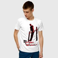 Футболка хлопковая мужская Street Workout Выход Силой цвета белый — фото 2