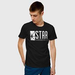 Футболка хлопковая мужская S T A R Labs цвета черный — фото 2