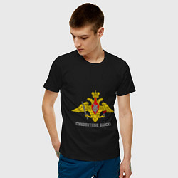 Мужская хлопковая футболка с принтом Сухопутные войска, цвет: черный, артикул: 10022048700001 — фото 2