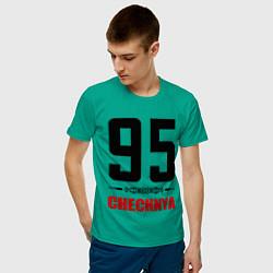 Футболка хлопковая мужская 95 Chechnya цвета зеленый — фото 2