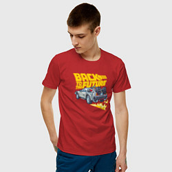 Футболка хлопковая мужская Back to the Future цвета красный — фото 2