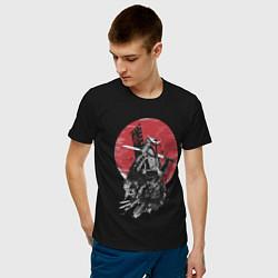 Футболка хлопковая мужская Японский самурай цвета черный — фото 2