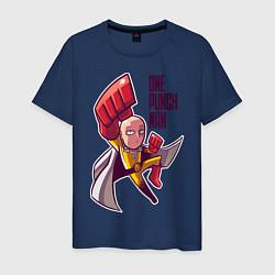 Мужская хлопковая футболка с принтом С одного удара, цвет: тёмно-синий, артикул: 10250683500001 — фото 1