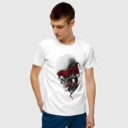 Футболка хлопковая мужская Череп Skull цвета белый — фото 2