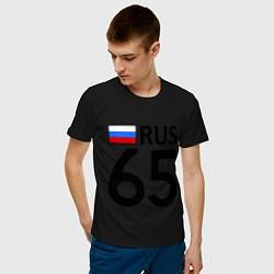 Футболка хлопковая мужская RUS 65 цвета черный — фото 2