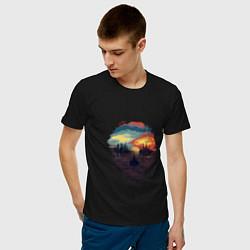 Футболка хлопковая мужская Череп цвета черный — фото 2