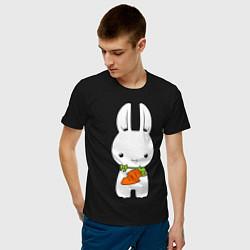 Мужская хлопковая футболка с принтом Зайчик с морковкой, цвет: черный, артикул: 10026933000001 — фото 2