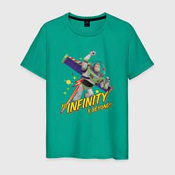 Футболка хлопковая мужская To infinity & beyond! цвета зеленый — фото 1