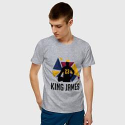 Мужская хлопковая футболка с принтом King James, цвет: меланж, артикул: 10274111500001 — фото 2