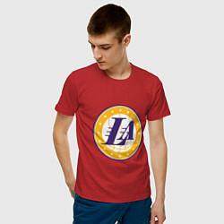 Мужская хлопковая футболка с принтом LA Lakers, цвет: красный, артикул: 10274328500001 — фото 2