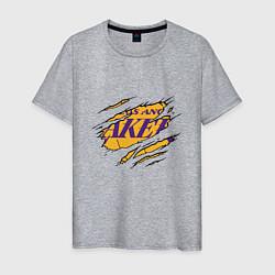 Мужская хлопковая футболка с принтом Los Angeles Lakers, цвет: меланж, артикул: 10274328700001 — фото 1