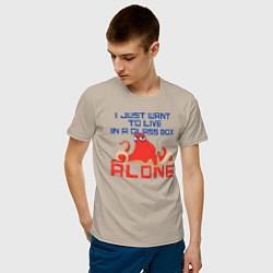 Футболка хлопковая мужская Alone цвета миндальный — фото 2