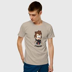 Мужская хлопковая футболка с принтом Гамаю, цвет: миндальный, артикул: 10275092300001 — фото 2