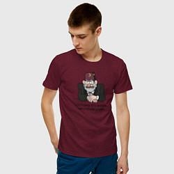 Мужская хлопковая футболка с принтом Потому что жизнь несправедлива, цвет: меланж-бордовый, артикул: 10275115100001 — фото 2