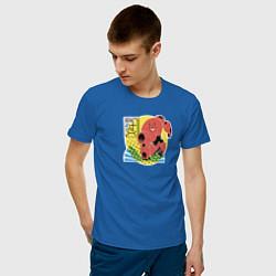 Футболка хлопковая мужская Бэймакс цвета синий — фото 2