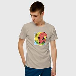 Футболка хлопковая мужская Бэймакс цвета миндальный — фото 2
