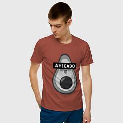 Футболка хлопковая мужская AHECADO АХЕКАДО цвета кирпичный — фото 2
