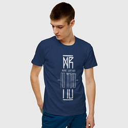 Футболка хлопковая мужская По Фрейду цвета тёмно-синий — фото 2