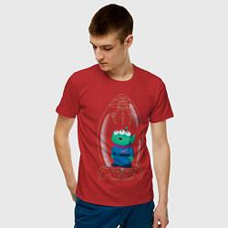 Футболка хлопковая мужская Пришелец с планеты Пицца цвета красный — фото 2