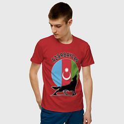 Футболка хлопковая мужская Азербайджан цвета красный — фото 2