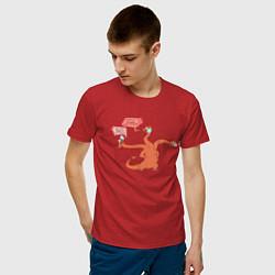 Футболка хлопковая мужская COVID-19 дракон цвета красный — фото 2
