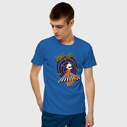 Футболка хлопковая мужская Spooks and scares ahead! цвета синий — фото 2