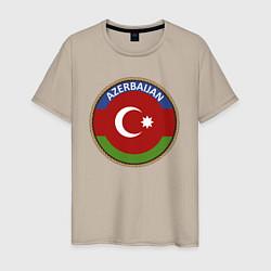 Футболка хлопковая мужская Азербайджан цвета миндальный — фото 1