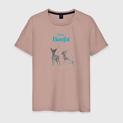 Футболка хлопковая мужская Бэмби цвета пыльно-розовый — фото 1