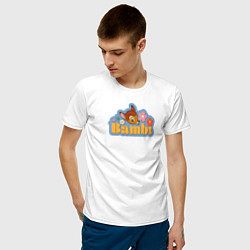 Футболка хлопковая мужская Бэмби цвета белый — фото 2