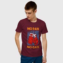 Футболка хлопковая мужская No Pain No Gain цвета меланж-бордовый — фото 2