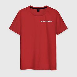 Футболка хлопковая мужская S W O R D цвета красный — фото 1