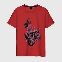 Футболка хлопковая мужская Мотоцикл цвета красный — фото 1