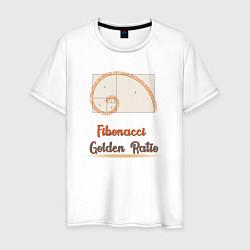 Футболка хлопковая мужская Fibonacci Золотое сечение цвета белый — фото 1