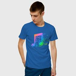 Футболка хлопковая мужская I LOVE MUSIC DJ Z цвета синий — фото 2