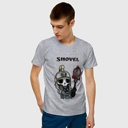 Футболка хлопковая мужская Shovel цвета меланж — фото 2