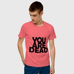 Футболка хлопковая мужская DayZ: You are Dead цвета коралловый — фото 2