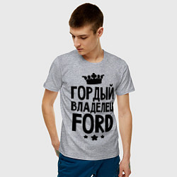 Футболка хлопковая мужская Гордый владелец Ford цвета меланж — фото 2