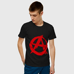 Футболка хлопковая мужская Символ анархии цвета черный — фото 2