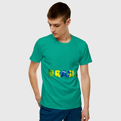 Футболка хлопковая мужская BRASIL 2014 цвета зеленый — фото 2