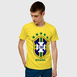 Футболка хлопковая мужская Brasil CBF цвета желтый — фото 2