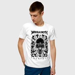 Футболка хлопковая мужская Megadeth Thirteen цвета белый — фото 2