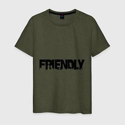 Футболка хлопковая мужская DayZ: Im friendly цвета меланж-хаки — фото 1